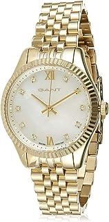ساعة يد بمينا بيضاء وسوار من الستانلس ستيل للنساء من غانت بيلبورت - G Gww073002، عرض انالوج، حركة كوارتز