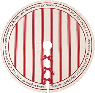 Mud Pie Twas the Night Cotton Striped Tree Skirt, Off White, Red, 54 inches diameter