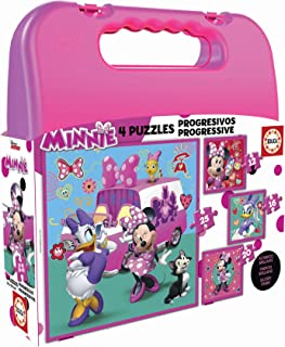 Educa- Disney Mickey Top Départ Malette Puzzles Progressifs Minnie & The Happy Helpers (12-16-20-25), 17638