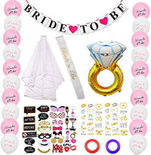 Bachelorette Party Decorations Kit - 90 PCS Bridal Shower Supplies Favor 'Bride to Be' Banner, Sash, Layer Veil, Ring Balloon, Photo Prop Sets, Tribe Flash Tattoos, Latex Balloon & Decoration Bandage