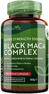 Complejo de Raíz de Maca Negra 5000 mg - 180 cápsulas veganas - Complejo de Maca Negra de Alta ...