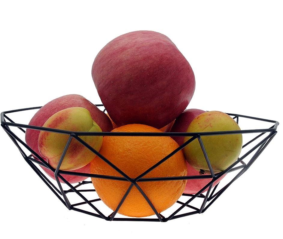 TuoTu Iron Mesh Woven Fruit Basket Fruit Bowl,Kitchen Countertop Fruit Bowl Vegetable Holder Decorative Stand for Bread, Snacks, Households Items Storage (Black)