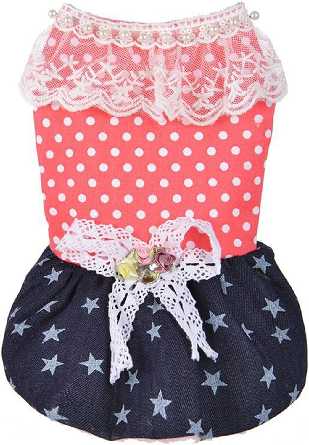 Pets Puppy Warm Outfits Polka Dot Star Print Denim Dog Dress Cute Clothes for Dogs