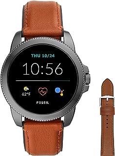 Fossil Smartwatch GEN 5E Connected da Uomo con Wear OS by Google con Cinturino in Pelle Marrone + Cinturino dell'Orologio ...