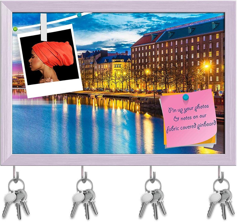 Artzfolio Panorama of Sea Pier Hakaniemi District, Finland D2 Key Holder Hooks   Notice Pin Board   White Frame 8.5 X 6Inch