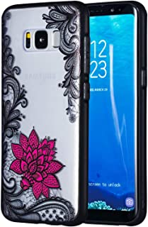 Galaxy S8 Case, Ranyi Black Lace Red Rose Flower Floral 3D Embossed Slim Thin Flexible PC Bumper + Soft Crystal TPU Cover 2 in 1 Case for Samsung Galaxy S8 5.8 Inch (2017), lace Flower