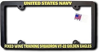 James E. Reid Design USN Fixed Wing Training Squadron VT-22 Golden Eagles License Frame w/Reflective Gold Lettering