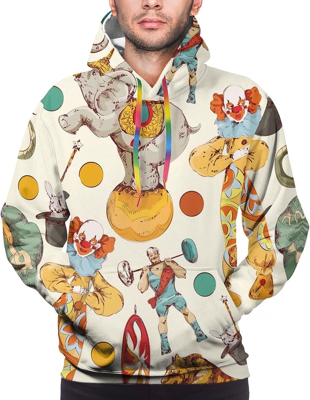 Hoodie For Mens Womens Teens Vintage Circus Clowns Hoodies Fashion Sweatshirt Drawstring
