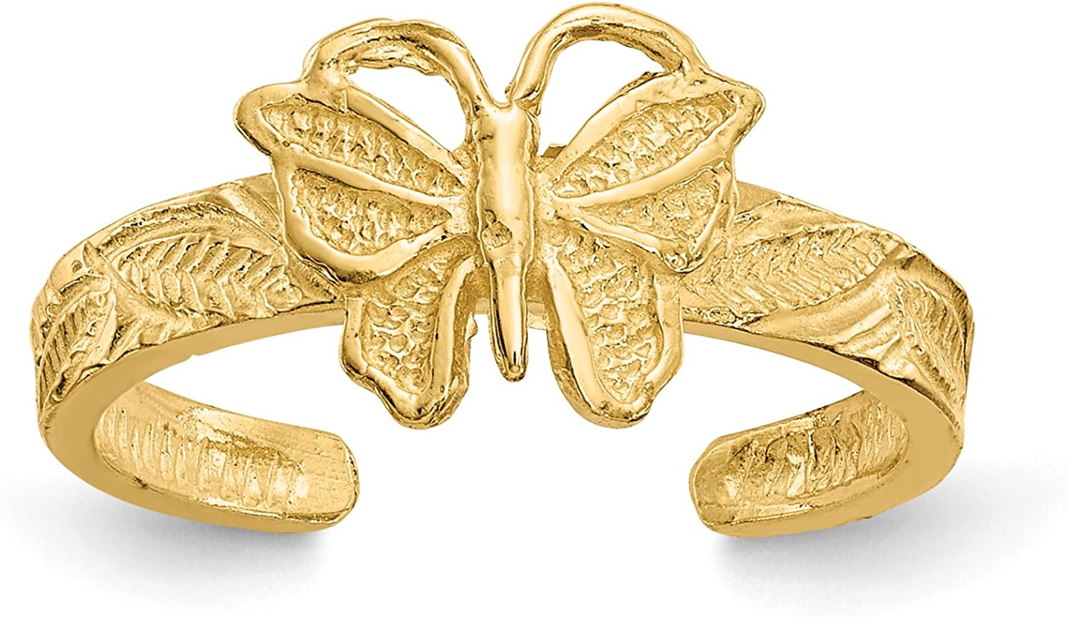 14k Yellow Gold Textured Butterfly Toe Ring