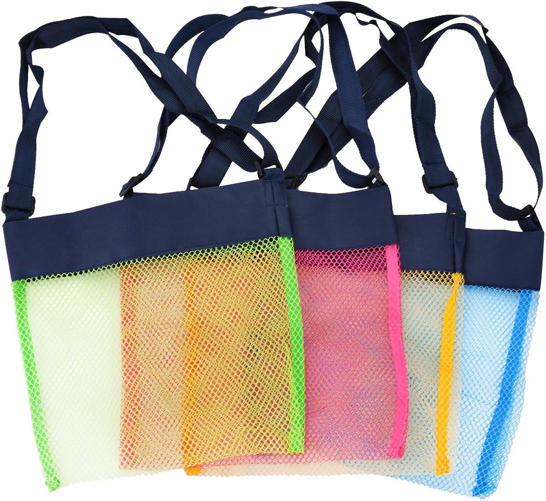 TECH-P colorful Mesh Beach Bags Sand Away Beach Treasures Seashell Bags Toy Storage Bag (4 Pack Royal bluee Straps(7.9 X7.9 )