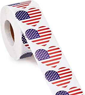 American Flag Stickers, 1000-Count USA Flag Stickers, Patriotic Label Roll, Heart Shaped, 1.25 x 2.125 Inches