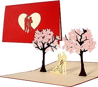 Tarjeta de felicitación de boda e invitación, elegante, original, como regalo para boda, tarjeta de boda con sobre y diseño en relieve, L10