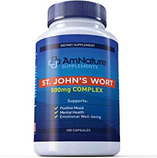 Sale ! AmNature St. John's Wort 500mg 100 Capsules Saint Johns Wort Extract for Positive Mood Support- Promotes Mental Hea...