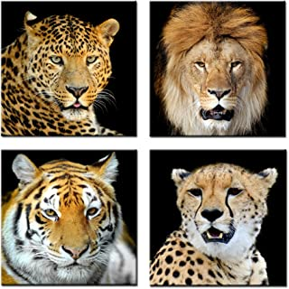 Kreative Arts - Canvas Set of 4 Leopard Tiger Lion Cheetah Picture Print Wall Art Animal Canvas Artwork Stretched Giclee Canvas Printing Hanging Wall Decor Ready to Hang (20''x20''x4pcs/Set)