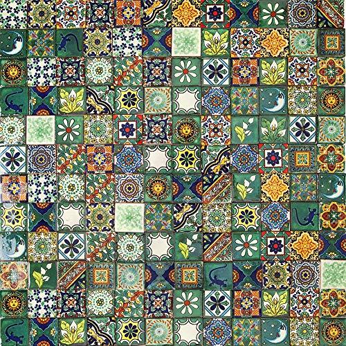 Cerames Verdicino 120 piastrelle messicane 5 x 5 cm Talavera Piastrelle per bagno e cucina Decorazioni per bagno, doccia, scale, parete posteriore della cucina, disegni marocchini