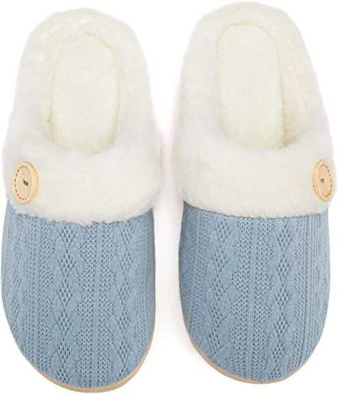Fuzzy Slippers Womens Comfy Memory Foam House Slippers Warm Plush Outdoor Indoor Bedroom Shoes with Fur Lining