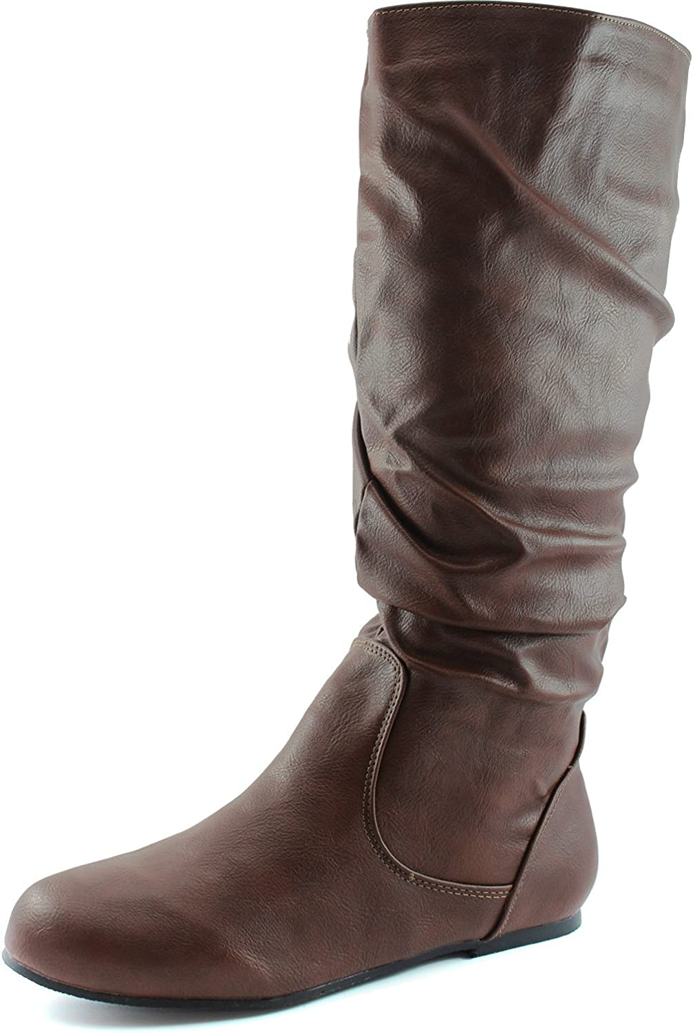 DailyShoes Women's Mid Calf Zipper Slouch Suede Comfortable Boot