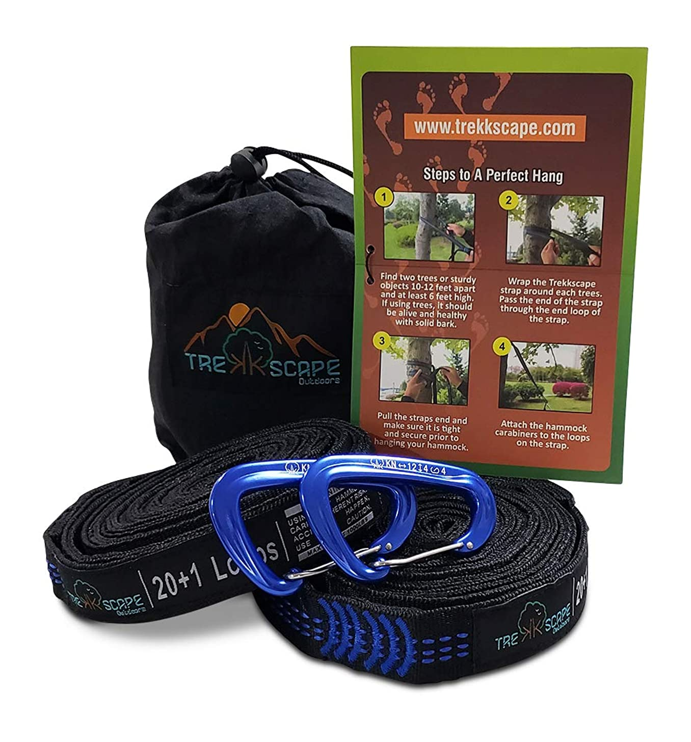 Trekkscape Hammock Straps XL - Camping Hammock Tree Straps Set with 2 12kN Carabiners & Bag, 20Ft Long Combined, 40+2 Loops, 2000 LBS No-Stretch, Heavy Duty Straps for Portable Hammock, Quick Setup