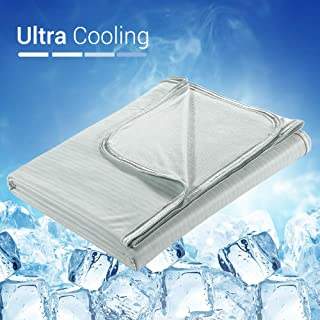 LUXEAR Cooling Blanket, Double-Sided Summer Blankets with Update Cool-to-Touch Technology, Oeko-TEX Certificate, Japanese Q-Max>0.34 Cooling Fiber, 100% Natural Bamboo Material for Night Sweat — Gray