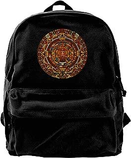 Aztec Calendar Canvas Shoulder Backpack Backpack For Men & Women Teens College Travel Daypack Black