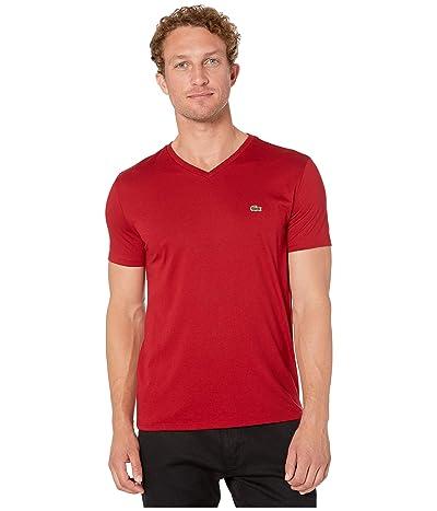 Lacoste Short Sleeve Pima Jersey V-Neck T-Shirt (Alizarin) Men