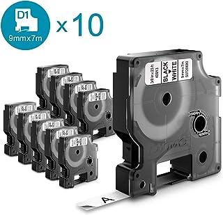 Dymo D1-Etiketten, 9 Mm X 7 M, Rolle, Schwarzer Druck auf weißem Untergrund, selbstklebend, für Labelmanager-Etikettendrucker, 10 Etiketten, Authentisches Produkt