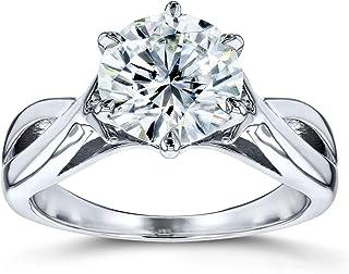 Moissanite Solitaire Open Shank Twist Engagement Ring 1 7/8 Carat 14k White Gold (FG/VS)