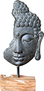Garden Age Supply Buddha Head on Stand, Buddha Head Statue Figurine, Oriental Bodhisattva Enlightenment Sculpture Table Top Décor with Stand