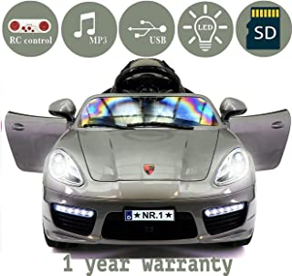 2018 PORSHE BOKSTER STYLE 12V ELECTRIC KIDS RIDE-ON CAR TOY WITH R/C PARENTAL REMOTE, LED WHEELS, REMOVABLE BABY TRAY TABLE, 5 POINT SAFETY HARNESS (1 YEAR WARRANTY)   GRAY METALLIC