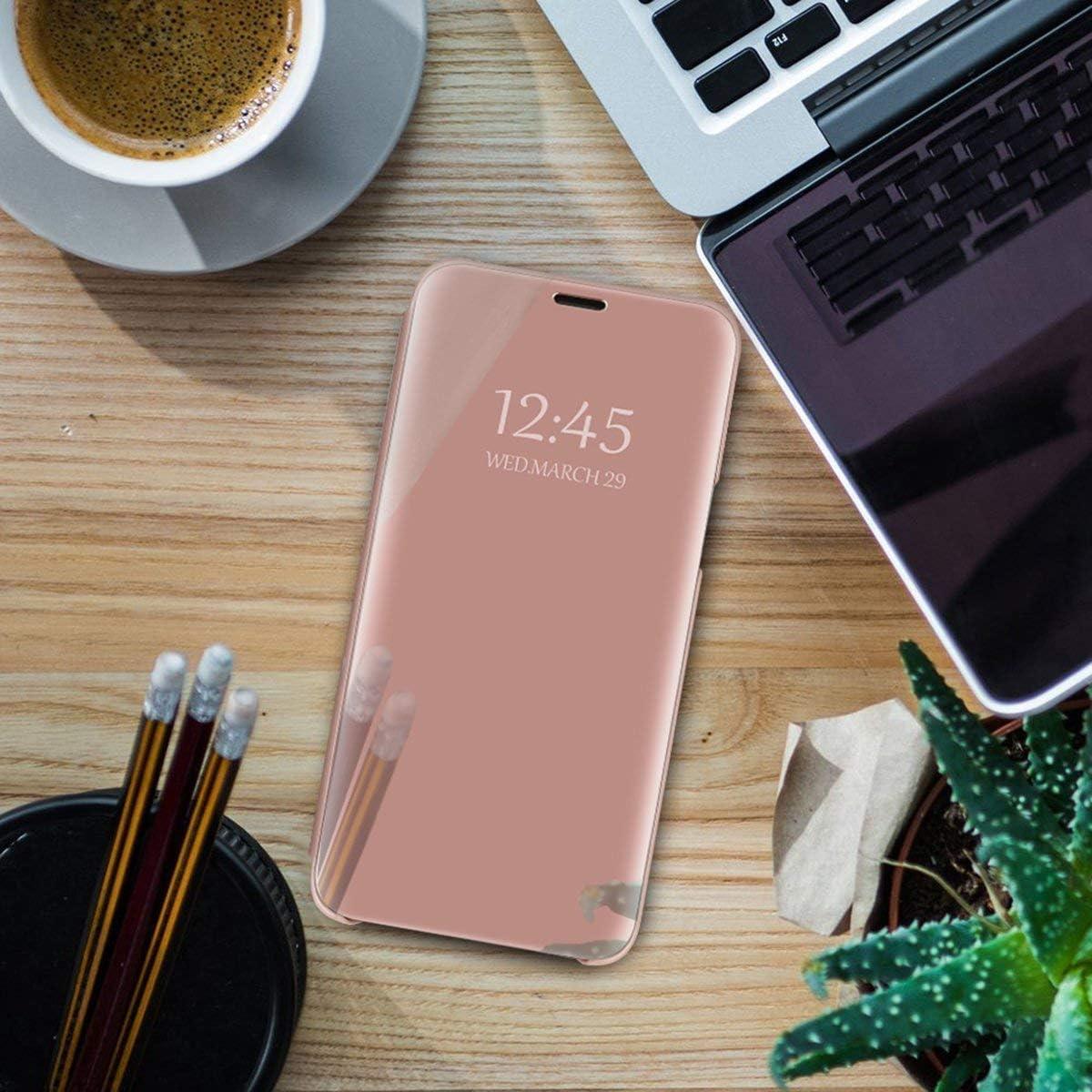 Oihxse Espejo Funda Compatible con Xiaomi Mi MAX 3 Carcasa Ultra Slim Mirror Flip Transl/úcido View Tipo Libro Tapa Standing 360/°Protectora PC PU Cover Anti-Scratch Caso Oro Rosa