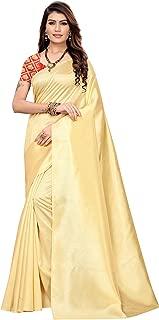 Anni Designer Women's Cream Color Silk Plain Saree with Printed Blouse Piece(Barkha Cream_Free Size)