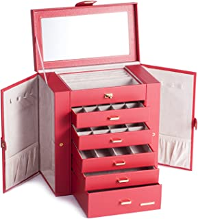 Large Mirror Luxury Jewellery Box Cabinet Necklaces Rings Watch Storage Case Box for Women Men 241 (Red)