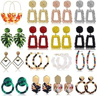 FIFATA 16 Pairs Gold Rectangle Geometric Dangle Earrings Fashion Chandelier Acrylic Statement Drop Earrings for Women Girl...