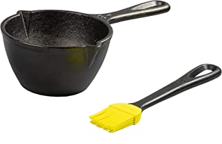 Lodge LMPB21 Cast Iron Silicone Brush Melting Pot, 15.2 oz, Black
