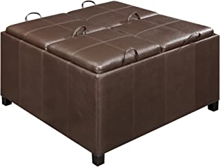 Convenience Concepts Designs4Comfort Times Square Ottoman with 4 Tray Tops, Espresso Faux Leather