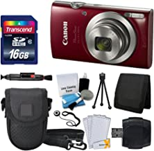 Canon PowerShot ELPH 180 Digital Camera (Red) + Transcend...