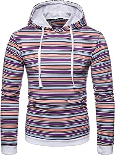 Mogogo Mens Striped Pullover Hood Plus Size Pullover Sweatshirt
