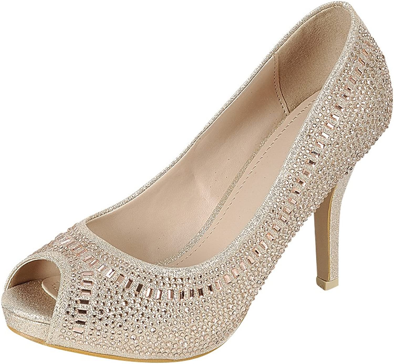 Cambridge Select Women's Peep Toe Crystal Rhinestone Beaded Stiletto High Heel Dress Pump