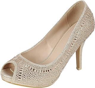 7f98900063940 Cambridge Select Women s Peep Toe Crystal Rhinestone Beaded Stiletto High  Heel Dress Pump