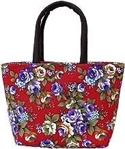 KTENME Kreative Freizeittasche mit Blumenmuster aus Segeltuch mit großem Fassungsvermögen und Reißverschluss, für Strand und Schulter, umweltfreundlich, zum Einkaufen oder für die Schule rot