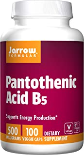 Jarrow Formulas Pantothenic Acid B5, Supports Energy Production, 500 mg, 100 Veggie Capsules