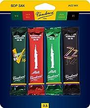 Vandoren SRMIXS35 Soprano Sax Jazz Reed Mix Card includes 1 each ZZ, V16, JAVA and JAVA Red Strength 3.5