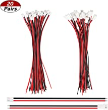 mxuteuk 20 Pairs 22 AWG 2 Pin JST XH2.54 Connector Plug with Red Black Cable Wire Male Female 200mm JST-XH2.54