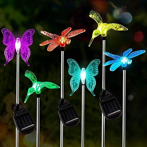 [6-Pack] Garden Solar Lights Outdoor,OxyLED Figurine Stake Light, Multi-Color Changing Decorative Landscape Lighting ...