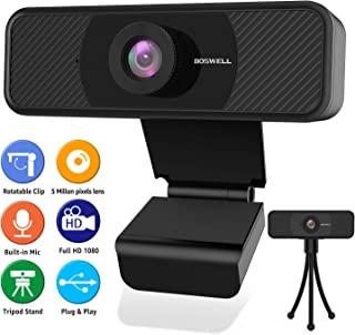 Full HD 1080P Streaming Webcam, BOSWELL 5.0 Megapixel PC Desktop or Laptop Webcam with Microphone, Streaming USB Webcam, Stream Cam for Video Calling with Flexible Rotatable Tripod