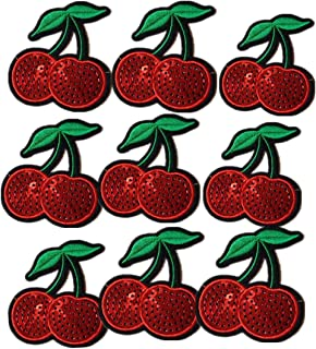 Ximkee(10 Pack)Delicious Red 2 Cherries Sequin Sew Iron On Embroidered Patches Appliques