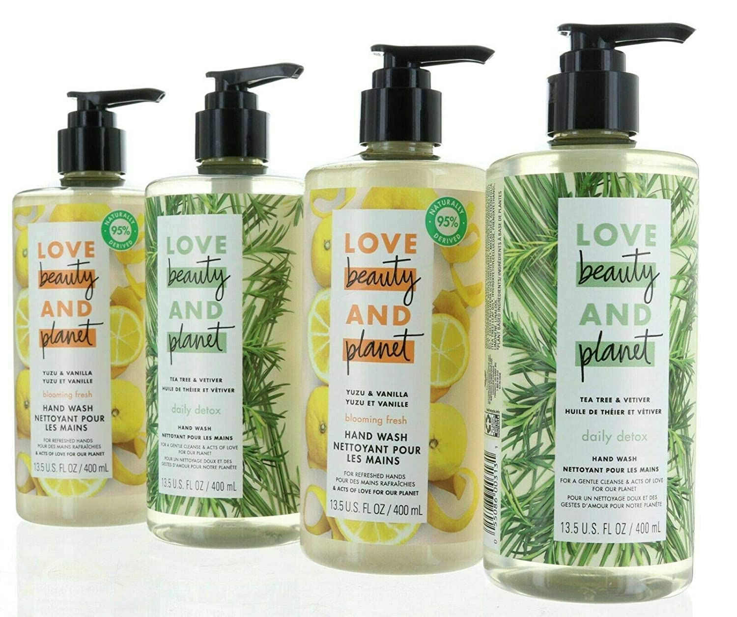 Love Beauty And Planet Store Yuzu and Vanilla liquid and Tea Tree and Vetiver Hand Wash 13.5 Oz (4 Pack) 2 of each flavor