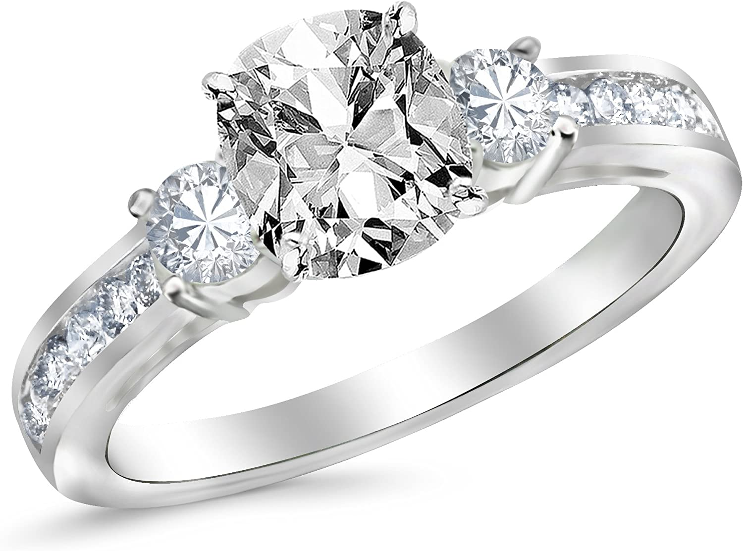 2 Ctw 14K White Gold Channel Set 3 GIA Certified Stone Cus Over item handling Max 84% OFF ☆ Three