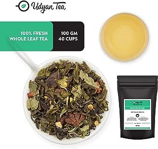 Udyan Zesty Orange Green Tea, 3.5 oz (40 cups) | Green Tea with Orange Peels, Spearmint & Star Anise | Natural Orange Flavouring | Loose Leaf Tea in Resealable Vacuum Pouch