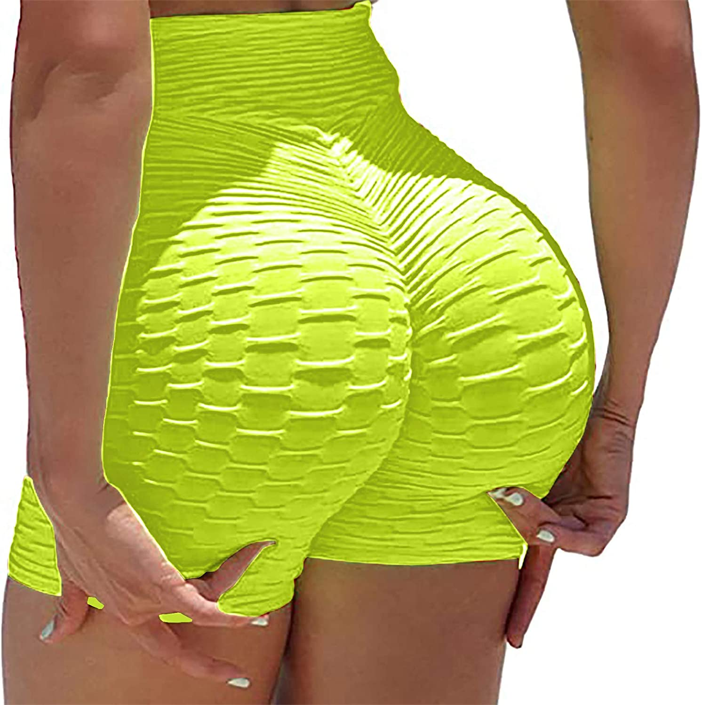 High Waist Gym Shorts Women Scrunch Butt Lift Leggings Shorts Tummy Control Ruched Butt Lifting Yoga Booty Shorts